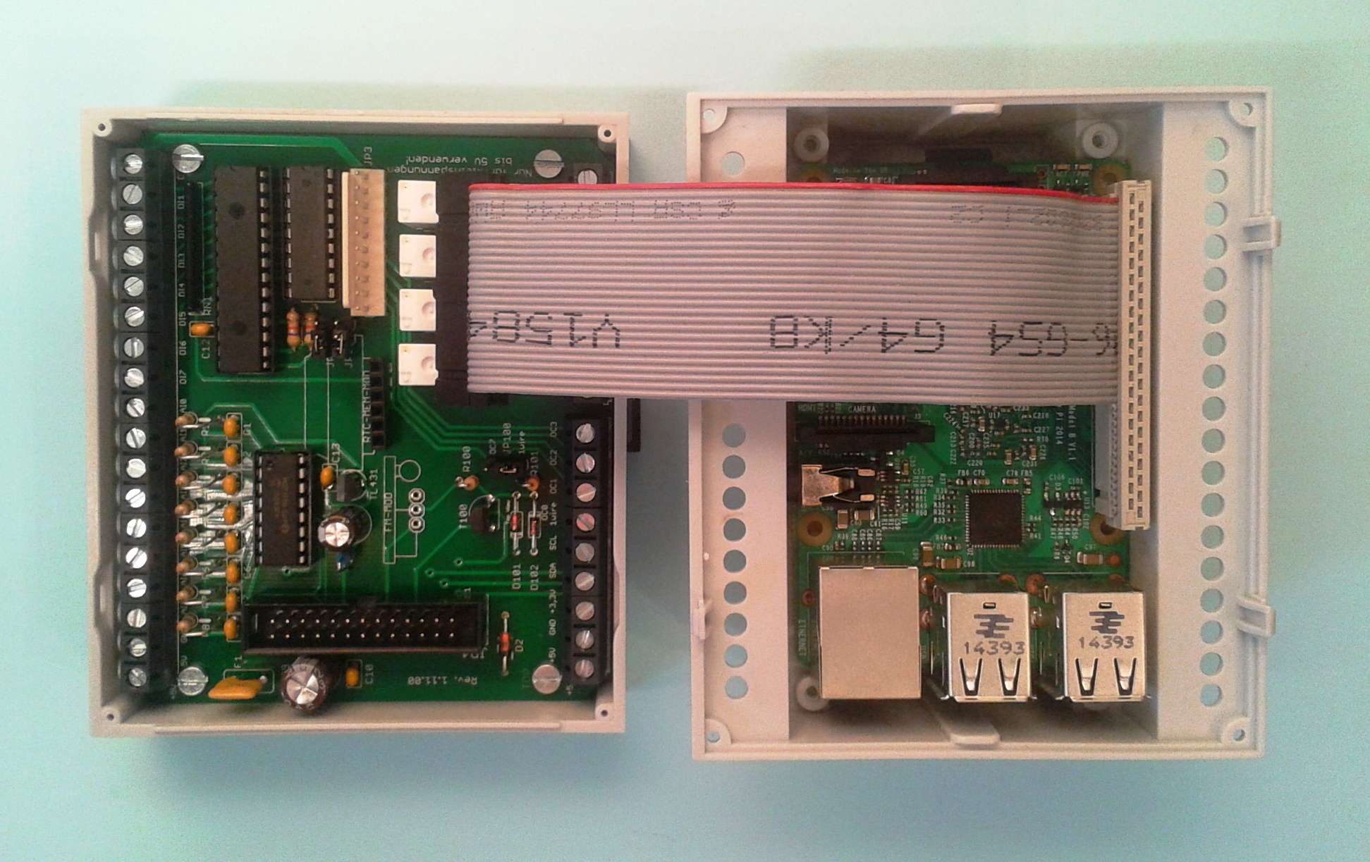 Raspberry Pi Io Erweiterung 1wire Analog Digital Relais I2c Wiringpi Gpio Mcp23017 Bild 4 Hubo Und B Im Hutschienengehuse Auch Fr Das Modell 2b Mglich